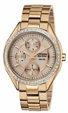 Citizen Eco-Drive FD1063-57X Women's Rose Gold Swarovski Crystal Chrono Watch