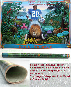 NITF ☆ Vintage OLD STOCK ☆ NIKE Poster ☆ KING OF THE JUNGLE Barry Sanders Lions