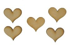 MDF Wooden Shapes Hearts 30mm High 3mm Thick Custom Cut X 20 Pieces 048