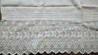 Antique White Embroidered Eyelet Cotton Flounce Lace Salvage Petticoat