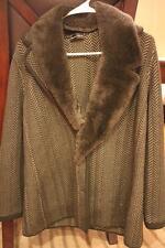 Rena Lange olive green with detachable fur collar sweater jacket size 14(j200)