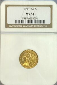 NGC MS61 1911 $2.5 Indian Head Gold Coin.! BU.!