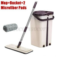 Flat Squeeze Mop and Bucket 2 Microfiber Mop Pads Hand Free Wringing Floor Clean