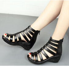 Women Summer Wedge Heel Roman Gladiator Sandals Black Leather Peep Toe Sho