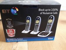 BT 4600 Big Button Cordless DECT Phones with Answering Machine - 3 Pieces