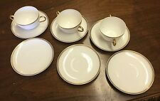 3 B & Cie Two Handled Bouillon Cup & 6 Saucers Limoges France White & Gold