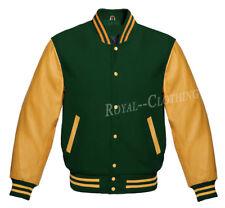 Letterman Varsity College F.Green Wool & Genuine Gold Leather Sleeves Jacket