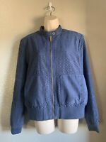 Women's Kenneth Cole Perforated Bomber Jacket, Blue, Large