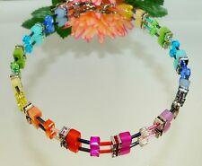 Halskette Würfe Cube Polaris multicolor mehrfarbig bunt Kristallglas Strass 500h