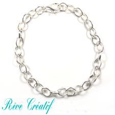 Bracelet Gourmette Fantaisie Femme 19cm en métal argenté Maille 7mm x 6mm x 1mm
