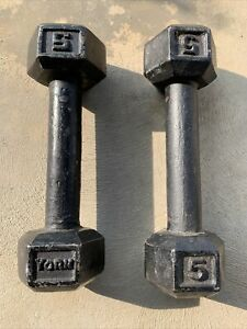 Vintage Hex Head 1 YORK 5 Pound & Other dumbbells 5lb Ea X 2 weights 10 Lb total