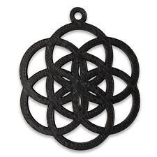 """3D Printed """"Seed of Life"""" 38mm Pendant Black Sacred Geometry New Age"""