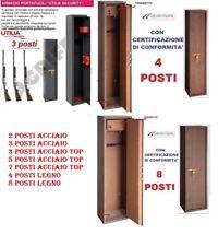 ARMADIO PORTAFUCILE FUCILIERA ACCIAIO BLINDATO POSTI 2- 3 - 4 -5 - 7 - 8 LEGNO
