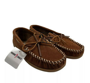 MINNETONKA Men's SZ 8 Tory Suede Leather Traditional Trapper Slipper Brown NWT