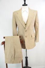 VTG Light Brown Wool Tweed Pinstripe 3 Piece Suit Hacking Jacket Wideleg USA 40R