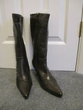 Ladies size 4 brown leather calf length boots - new and boxed