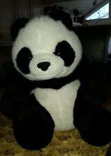"2008 Beijing plush panda bear black and white 11"" sitting #E6"