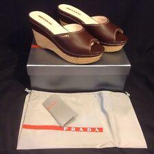 NEW BOX PRADA Teak Brown Leather Cork Wedge Banded Slides Sandals 39.5 MSRP $525