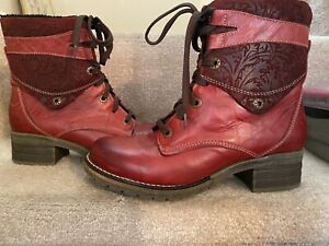 Dromedaris Red Leather Boots Made In Portugal