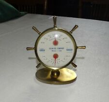 Vintage Solar Oil Company/Sunoco Brass Ship Wheel Thermometer & Barometer