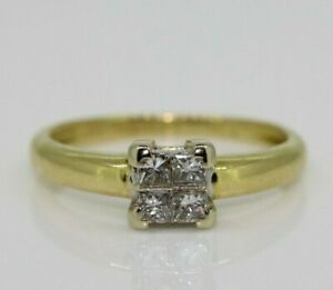 18ct Yellow Gold 0.33ct Diamond Cluster Solitaire Ring Size I, US 4 1/2