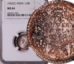 NGC MS-64 INDIA (BRITISH) SILVER 1/4 RUPEE 1942