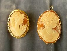 2 ANTIQUE CAMEOS ONE SET IN SILVER THE OTHER WITH GOLD WIRE