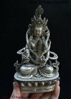 Collect Old China Buddhism Temple Silver Vajra Mandkesvara Yab-Yum Buddha Statue