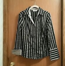 Black & Silver Striped French Cuff Top Shirt Blouse