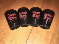 Rumple Minze - Lot of 12 Plastic Shot Glasses - Black w/ Dark Red Logo - NEW