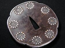 Signed Large KATANA TSUBA 18-19thC Japanese Edo Antique Koshirae fitting  e940