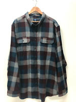 George Men Plaid Flannel Shirt Cotton Green Blue Burgundy Soft S L XL 2XL 3XL