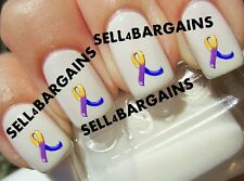 BLUE, PURPLE & YELLOW RIBBON》BLADDER CANCER AWARENESS LOGO》Tattoo Nail Art Decal