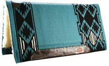 "Showman 36""x34"" TEAL Wool Top Western Saddle Pad Memory Felt Center! NEW TACK!"
