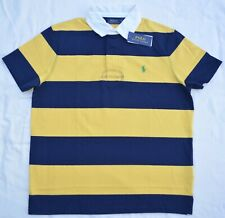 New Large L POLO RALPH LAUREN Men short sleeve Rugby Shirt Custom Fit yellow top