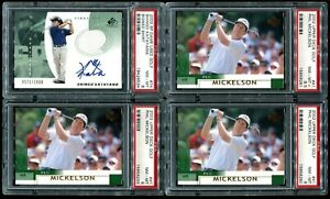 2002 SP Authentic Phil Mickelson Lefty  RC 3 Card Lot PSA 9 Mint + 1 Extra Card