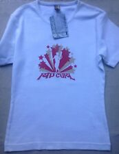 Rip Curl Girls Dancer Optic White Red Surf Wear Fitted T-Shirt Top 8 XS S Eur 36