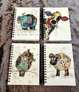 A6 Hardback Notebook Bug Art Cow Owl Ram Elephant Lined