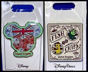 Disney Parks 2 Pin lot Epcot Showcase United Kingdom + Fish & Chips UK - New