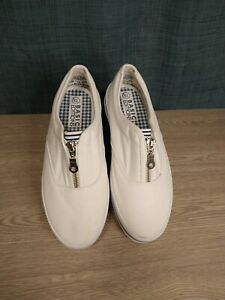 Details about  /Basic Editions Women/'s Size 8 Flats A-Line Slip-On Shoes Pinstripe Red White