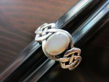 925 Sterling Silver Signed Man/Woman Celtic Knot Mother of Pear- Stone Ring SZ 7
