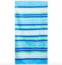 Blue & Green Striped Beach Towel 30in x 60in 100% Cotton