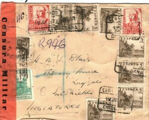 SPAIN Cover Spanish Civil War Chiclana Algeciras CENSOR Super Usage 1937 FC123