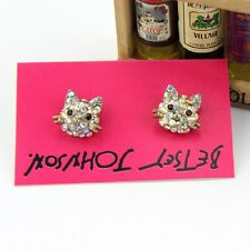 New Betsey Johnson Rhinestone Cat Stud Earrings Gift Fashion Women Party Jewelry