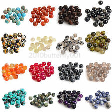Hotsale 50 Style Natural Smooth Gemstone Round Loose Spacer Charms Beads 4-12mm