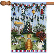 Toland Cats Garden 28 x 40 Colorful Kitty Cat Spring Flower Bird House Flag