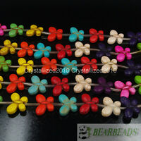"""Mixed Color Howlite Turquoise 20mm Butterfly Loose Spacer Crafts Beads 15.5"""""""