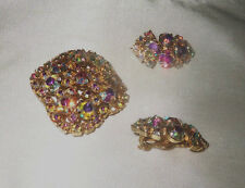 Vintage Elegant Faceted AURORA BOREALIS BROOCH AND Matching Earrings DEMI-PARURE