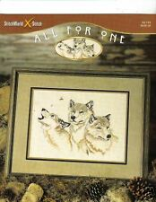 ALL FOR ONE (3 WOLF HEADS)  IN  CROSS STITCH