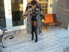 Excellent preowned Full length Silver Crystal fox Fur Coat Jacket M